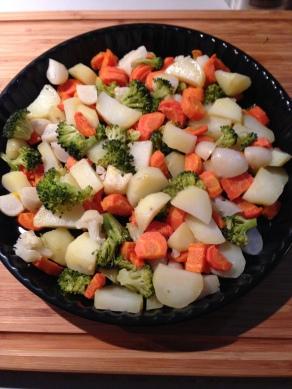 groententaart, leg alle groenten in de taartvorm