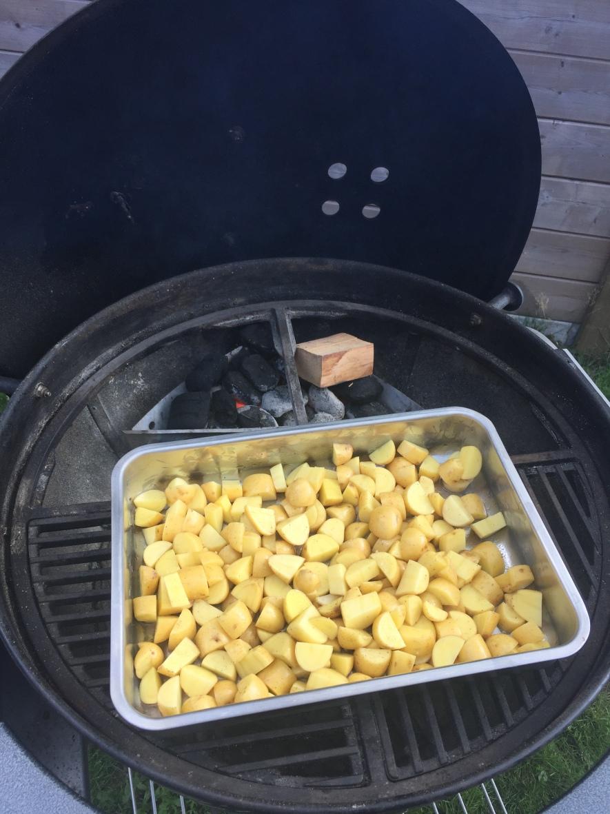 Rook de aardappelen tussen 140°C en 160°C